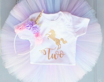 Unicorn Birthday Outfit, First Birthday Outfit Girl, Unicorn Headband, Baby Tutu Dress, Tulle Skirt, Unicorn Horn, Baby Romper Baby Headband