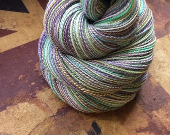 Handspun Merino and Tencel Yarn in *Valley of the Unicorns* (350 yards)