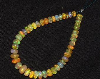 """Sale 45% off 7"""" 4-6 mm Natural Multi Color Play Ethiopian Welo Fire Opal Smooth Rondelle Beads NOB245"""