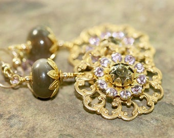 Grey Lampwork Glass, Brass Filigree and Swarovski Crystal Earrings, Handcrafted Vintage Style Jewelry, Victorian, Romantic, Flower Drops
