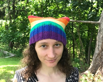 rainbow gay pride flag 100% cotton pussy hat : all proceeds to Human Rights Campaign