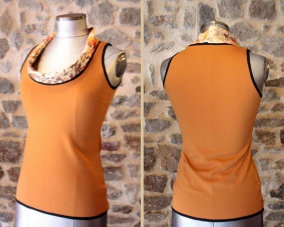 Tee Shirt tank top sleeveless Orange ochre. Mid season Jersey cotton
