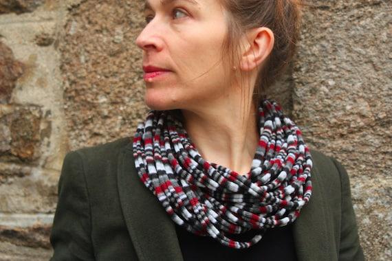Grey/Burgundy/black striped knit scarf or MULTISTRAND necklace
