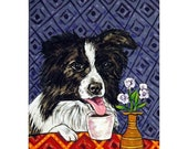 25% off Border Collie at the Coffee Shop Dog Art Print