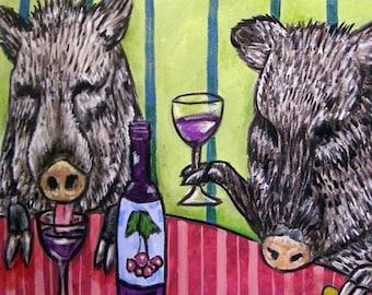 20 % off storewide Javelina - wine tile, wine art, PRINT on tile, coaster, gift, modern folk art,javelina tile, pop art