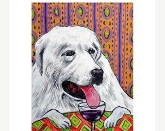 20% off Great Pyrenees dog, wine, PRINT, Poster, gift, 11x14, modern dog art, folk art,