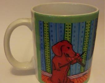 20% off dachshund playing the violin dog art mug cup 11 oz gift