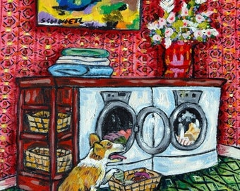 20% off corgi dog laundry animal art tile coaster  JSCHMETZ modern abstract folk pop art AMERICAN ART gift