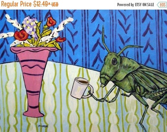 20% off Grasshopper at the cafe coffee shop insect art print signed modern