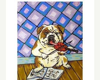 Bulldog - modern dog art PRINT,  violin fiddle