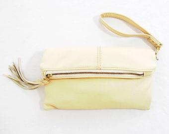 Cream White Leather Clutch Bag