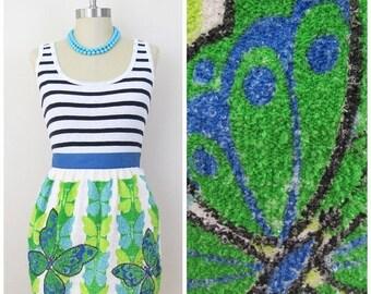 25% Off Sale 70s Mod Blue Green Butterfly Tea Towel Apron