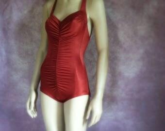 Vintage Swimsuit - 1970s Copper Bathing Suit