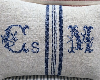 European Vintage Monogramed GRAINSACK Pillow/French Cottage/Paris Shabby Chic/Industrial Loft/Throw PiLLoW/Lumbar