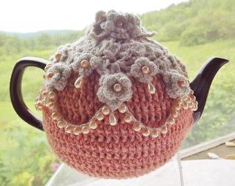 Peachy Pink Tea Cozy, Crochet Tea Cozy, Beaded Tea Cozy, Floral Crochet Tea Cozy, 6 Cup Tea Cozy, Tea Cozy with Flowers