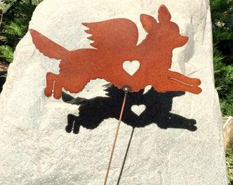 Rusty Finish Metal Long Haired Chihuahua Dog Angel Memorial Garden Art Yard Stake