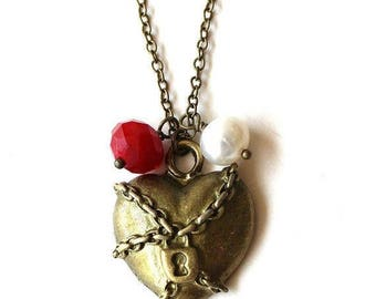 HALF PRICE SALE Chained and locked heart, red bead and white pearl necklace