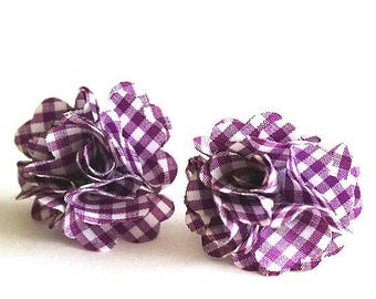 HALF PRICE SALE White and purple gingham tartan fabric flower post earrings Clearance