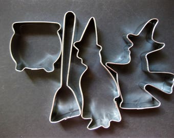 Four Halloween Cookie Cutters, Witches, Broom and Cauldron,  for Halloween Fun