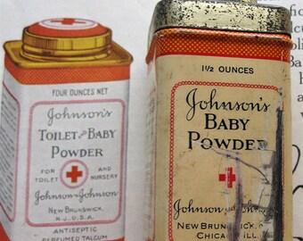 Vintage Johnson's Baby Powder Tin, 1920, Small Baby Powder Tin