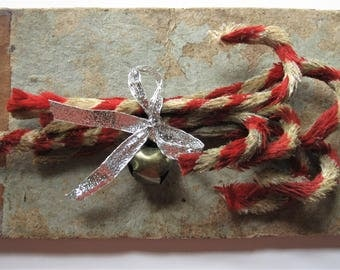 Vintage Style Holiday Candy Canes, Chenille Primitive Style, with Vintage Bell and Ribbon, Six