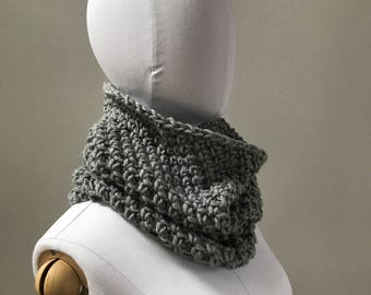 Cowl Neckwarmer Scarf : super soft | Gray or Taupe | wool blend | washable | single loop | snood hood | fall