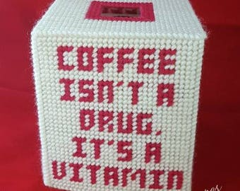 Coffee is a Vitamin Coffee Lover's Tissue Box Cover Plastic Canvas