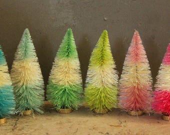 Striped Bottle Brush Trees - 6 Pastel Gumdrop 4 Inch Vintage Style Bottle Brush Christmas Trees - Miniature Display - Dollhouse Sisal Trees