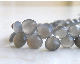 Deep Discount Sale Grey Moonstone Gemstone Briolette Faceted Heart 9.5 to 10.5mm 12 beads