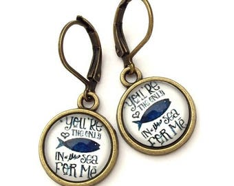 The Only Fish in the Sea Glass Photo Earrings  Nickel Safe
