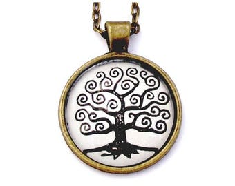 """Blue Heart Tree Photo Glass Necklace 30"""" Antiqued Bronze Chain"""