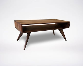 Modern Coffee Table Walnut Mid Century Modern Solid Wood Handmade Organic Finish Contemporary