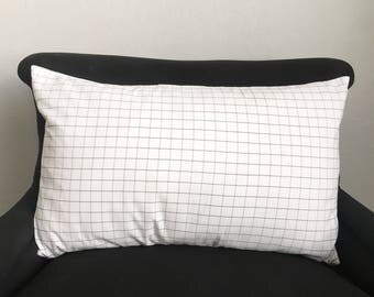 Crisp white with black grid or windowpane lumbar pillow cover / classic / modern / farmhouse