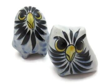 Pottery Owl Pair - Mid Century Tonala Mexico Pottery Birds