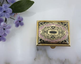 Faux Leather Pillbox - Gold Tooling with Gold Black Pink Colors