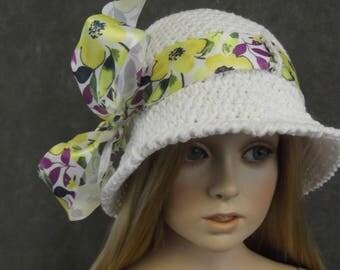 White Crochet Hat,Toddler,Cotton,size 1-2,Accessory,Girls,Spring,Summer,Cloche,Photo Prop