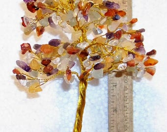 Multi Colored Gem Tree for decoration or earring holder at flea markets - use in a display, 300 gems, FREE SHIPPING