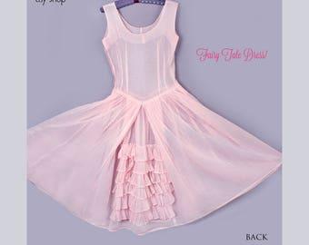 50's Sheer Pink Alice In Wonderlamd Fairy Tale Vintage Dress