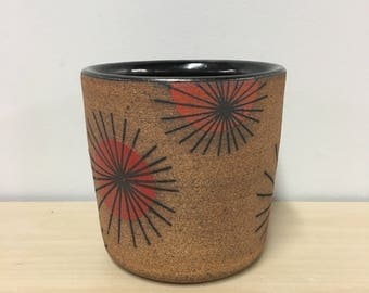 Star Burst, stoneware cup, rocks glass, cocktail cup, red, orange, handmade, mid century modern, mid mod, wheel thrown pottery