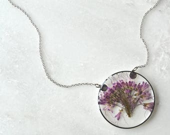 Purple Bee Plant Pressed Flower Necklace Pressed Flower Jewelry Botanical