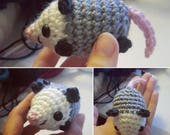 Crocheted Opossum Amigurumi Plushie - Mini Possum Plush - MADE TO ORDER