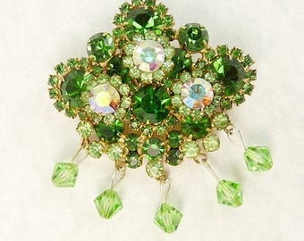 Juliana Green Rhinestone Brooch Delizza Elster Jewelry
