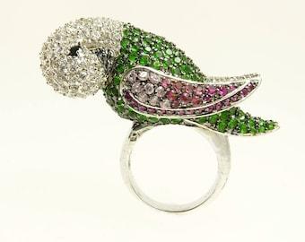Pave Rhinestone Parrot Ring Statement Jewelry