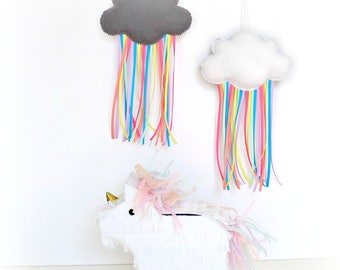 Free UK shipping Felt Cloud with Rainbow Ribbons Mobile decoration /  ornament