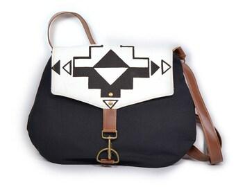 satchel • waxed canvas crossbody bag • geometric southwest print - hand printed - waxed canvas - screenprinted • casita no. 1