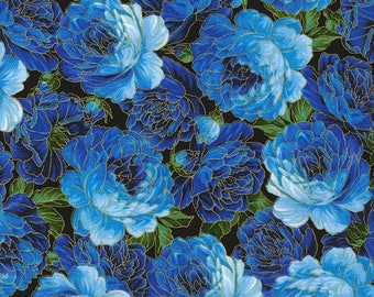 Blue Packed Roses Enchanted Chong-A Hwang Timeless Treasures Fabric