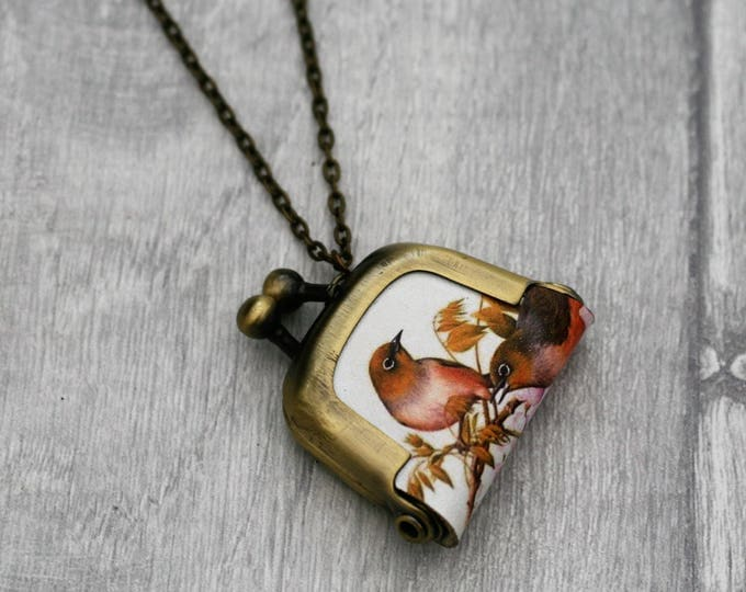 Bird Coin Purse Necklace, Birds Necklace, Woodland Jewelry
