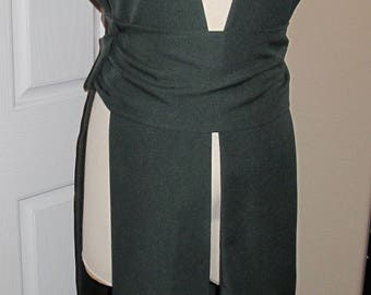 Forest Green sleeveless hooded tunic tabard vest with a sash.