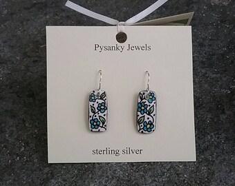 Rectangular blue flower meander goose eggshell pysanky earrings