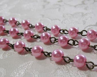 "One Meter 39.5"" Hot Pink Acrylic Pearl 6mm Beaded Rosary Link Chain Antique Bronze 976"